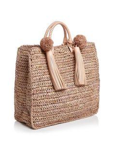 Loeffler Randall Raffia Travel Tote Handbags – Bloomingdale's, – Crochet Bag İdeas. Crochet Clutch, Crochet Handbags, Crochet Purses, Crochet Bags, Crochet Baby Boots, Diy Bags Purses, Crochet Shell Stitch, Jute Bags, Boho Bags