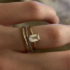 Elizabeth added a photo of their purchase Dream Engagement Rings, Perfect Engagement Ring, Emerald Cut Diamonds, White Sapphire, Sapphire Diamond, Mode Ootd, Gold Rings Jewelry, Jewellery, Traditional Engagement Rings