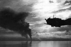 Four Japanese transports, hit by both U.S. surface vessels and aircraft, beached and burning at Tassafaronga, west of positions on Guadalcanal, on November 16, 1942. They were part of the huge force of auxiliary and combat vessels the enemy attempted to bring down from the north on November 13th and 14th. Only these four reached Guadalcanal. They were completely destroyed by aircraft, artillery and surface vessel guns.