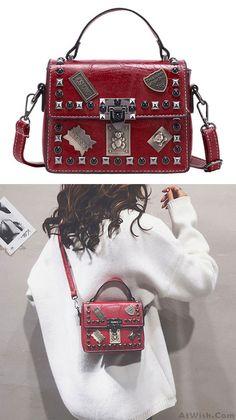 1bc9916f6847 Retro Badge Rivet Crossbody Small Square Bag Women Shoulder Bag  bag   shoulder  rivet