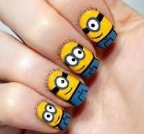 nail art designs braid fashion makeup Minions Nails 2013 2014 Despicable Me 2 Style Cute Nail Art Designs, Pretty Designs, Cartoon Nail Designs, Love Nails, Pretty Nails, Minion Nail Art, Nagel Hacks, Nagellack Design, Nails For Kids