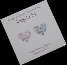 Handmade Personalised Sparkly Hearts New Twin Babies Card Boy And Girl In Crafts