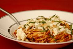 Pasta with Baked Ricotta and Sweet Tomato Sauce