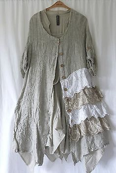 GERMAN-ZEDD-PLUS-LAGENLOOK-RUFFLE-LAYERED-LINEN-COTTON-DRESS-COAT-L-XL
