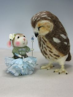 "Needle Felted ""Cupcake"" Baby Fairy Bunny by Barby Anderson / Saw Whet Owl by Helen Priem by feltedmice, via Flickr"