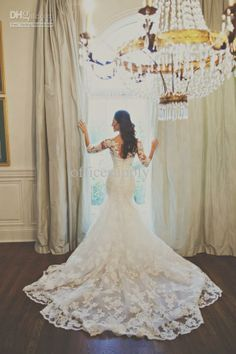 Wholesale Wedding Dresses - Buy Long Sleeved Tulle Lace Mermaid Lace Wedding Dresses with Buttons Back BO1941, $134.22 | DHgate