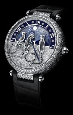 Cartier Reves de Pantheres for SIHH 2015 PRE-SIHH Cartier Rêves de Panthères watch with a rotating dial depicts a sky as it transforms from starry night to bright shining canopy. For the first time ever, the panther, a timeless icon of the Maison, ap Amazing Watches, Beautiful Watches, Cool Watches, Casual Watches, Dream Watches, Fine Watches, Men's Watches, Omega, Patek Philippe
