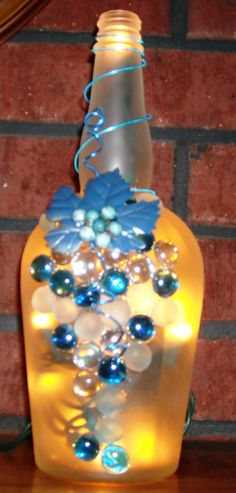 Frosted and Blue Glass Wine Liquor Bottle Light with by booklooks, $22.00