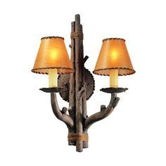 Two Light Wall Sconce Cheyenne Finish: Hickory twigs shades leather Troy Lighting, Rustic Lighting, Wall Sconce Lighting, Wall Sconces, Lighting Design, Lamp Light, Light Up, String Lights, Wall Lights