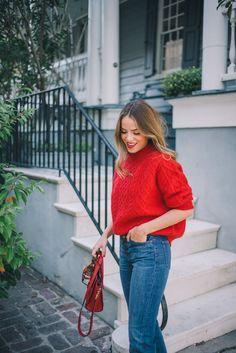 "Gal Meets Glam Twenty Six - Demylee sweater, J.Crew jeans, Schutz flats, Celine bag, & Bobbi Brown lipstick in ""Red"""