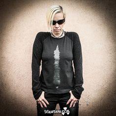 RANGE  Black Printed Shirt Edgy Industrial Grunge by siskatank $68.76
