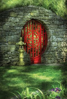 ~~The Moon Gate by Mike Savad ~ stone garden wall, rounded garden gate = serenity~~