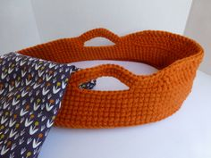 Crocheted Doll Moses Basket and Blanket Orange by BabyDear on Etsy