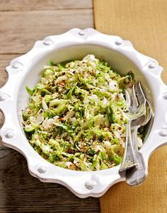 Cold Brussels Sprout Slaw with Toasted Benne Seeds