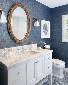 Bathroom Decor blue Rope Decor: 10 Cottage Decorating Ideas - rope mirror - gorgeous coastal style bathroom with navy wallpaper Beach House Bathroom, Beach Bathrooms, Beach House Decor, Navy Bathroom, Small Bathroom, Bathroom Interior, Blue Bathrooms, Beach Style Bedroom Decor, Mirror In Bathroom