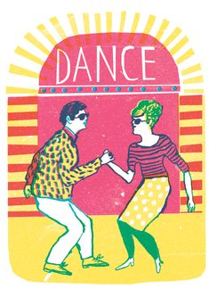 Risographs - Louise Lockhart Dance 3 colour print design the twist 1960s outfits