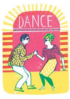 Risographs - Louise Lockhart Dance 3 colour print design the twist 1960s outfits