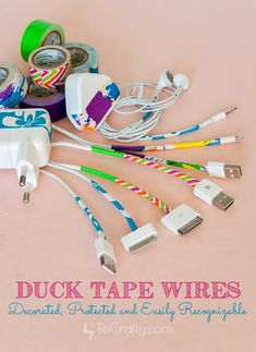 Duck Tape Wires: Decorated, Protected and Easily Recognizable also could use washi tape Duct Tape Projects, Washi Tape Crafts, Duck Tape Crafts, Diy Crafts, Crafty Projects, Tape Art, Paper Tape, Tapas, Diy Organization