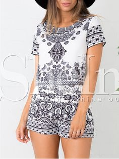 White Short Sleeve Vintage Print Top With Shorts -SheIn(Sheinside)