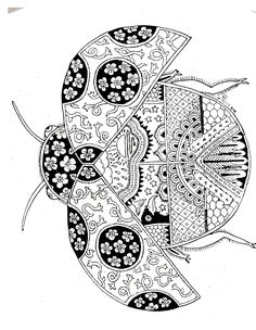 ladybug spring mandala coloring pages Doodle Coloring, Mandala Coloring Pages, Coloring Book Pages, Printable Coloring Pages, Zentangle Drawings, Doodles Zentangles, Zentangle Patterns, Tangle Art, Desenho Tattoo
