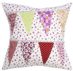 Bunting Design Floral Patchwork Cushion Cover by Fields of Blue