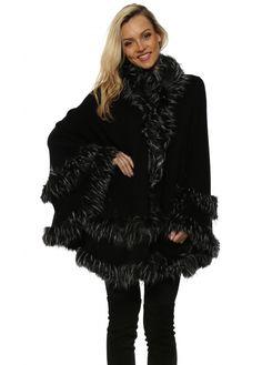 Winter Adults BLACK Fleece Hooded Scarf Silver Grey Fake Fur trim Wrap scarf