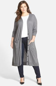 Halogen® Cotton Blend Duster Cardigan (Plus Size) available at #Nordstrom