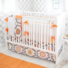 orange infant bedding | crib bedding, baby bedding, nursery, baby, orange, chocolate, infant ...