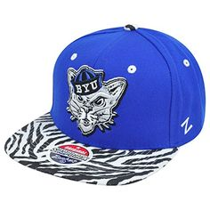 NCAA Zephyr Brigham Young Cougars BYU Animal Style Flat Bill Snapback Hat Cap NCAA Official Headwear