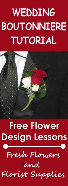 Learn How to Make a Pearl Accented Boutonniere - Easy DIY tutorials for bridal bouquets, corsages, boutonnieres, table centerpieces and church decorations.  Buy wholesale flowers and discount florist supplies.