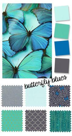 color palette: butterfly blues - Oliver + S Colour Pallette, Colour Schemes, Color Patterns, Paint Schemes, Color Combinations, Color Blending, Color Mixing, Calming Colors, Design Seeds