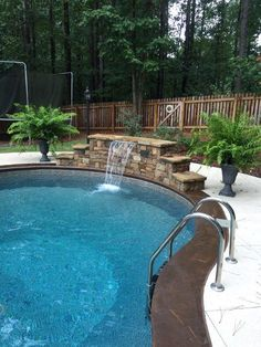 Vinyl With Sheer Descent Waterfall. Notice   No Tile Border On Liner. By  Aqua Fun. Find This Pin And More On Awesome Inground Pool Designs ...