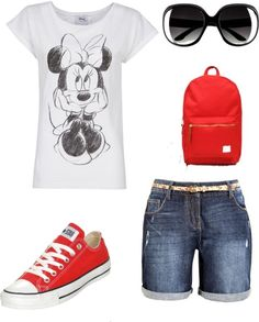 Another perfect Disneyland outfit for summer: comfy shoes, sensible-sized backpack, white shirt.