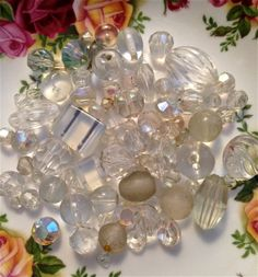Vintage white and clear  bead mix   mixed lot  by pinksupply, $4.55