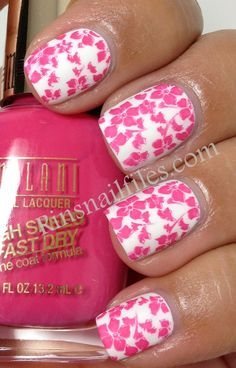Rin's Nail Files: Bright Pink and White Matted Nail Design....