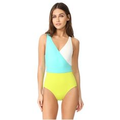 Solid & Striped The Ballerina One Piece (£125) ❤ liked on Polyvore featuring swimwear, one-piece swimsuits, aqua cream kiwi, striped swimsuit, swimsuit swimwear, colorblock one piece bathing suit, striped one piece swimsuit and striped one piece bathing suit