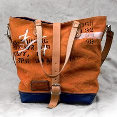 Handprinted Orange Canvas Tote Bag // Recycled by peace4youBAGS