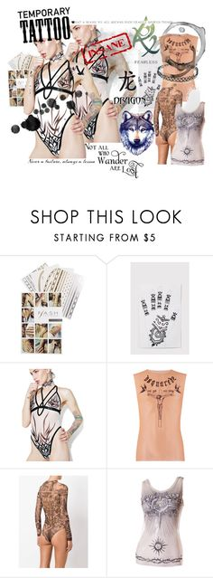 """""""keep wearin' it! tattoo clothes, kits, transfers.."""" by caroline-buster-brown ❤ liked on Polyvore featuring Flash Tattoos, Current Mood, Dsquared2, Rune NYC, Jean-Paul Gaultier, Forever 21 and temporarytattoo"""