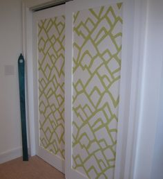 Wallpaper wardrobe doors great for a hallway wallpaper closet closet door idea eventshaper
