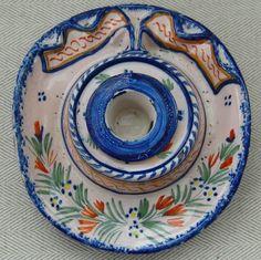 Henriot Quimper France Pottery Inkwell in shape of Breton Hat