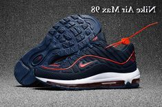 huge discount 2ef60 afa24 Men s Supreme x Nike Air Max 98 KPU TPU Running Shoes Dark Blue Red UK  Trainers Sale