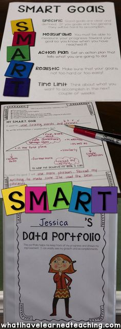 SMART Goal Setting in elementary school. Help students set SMART goals by setting strategic, measurable goals with an action plan that are realistic and timely. Included are data binders, goal setting forms, reflection pages and much, much more. Student Data Binders, Data Folders, Student Goals, Student Teaching Binder, Teaching Tools, Goal Setting For Students, Smart Goal Setting, Measurable Goals, Data Notebooks