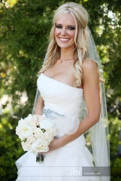 Half up wedding hair. Soft curls. The perfect look to add a veil.