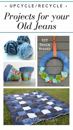 Who doesn't love a great pair of jeans? Don't toss em! Check out these Denim Craft Projects. DIY, recycle and upcycle that denim into something new like denim yarn, a spring wreath or a fun blanket or throw. You can find lots of craft tutorials at FiberArtsy.com