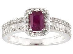 1.00ctw Emerald Mahaleo(R) Ruby & White Diamond Rhodium Over Sterling Silver Ring