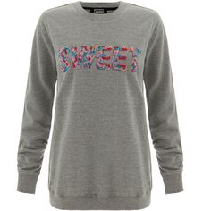 Markus Lupfer Grey 'Sweet' beaded Sweatshirt ($120) ❤ liked on Polyvore featuring tops, hoodies, sweatshirts, grey, grey long sleeve top, sweat shirts, sweatshirts hoodies, sweat tops and cotton sweatshirt