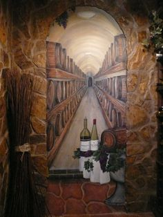 Have you ever dreamed of owning your own wine cellar? I did-so I painted one! This is a painted illusion of a fully stocked wine cellar. The wine bottles even are personalized!