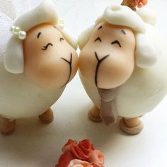 Sheep for your Wedding cake topper Ovejitas para by Lifairy
