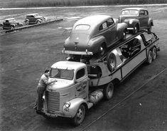 Dodge COE car hauler & Plymouths 1940.