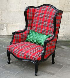 Tartan fireside chair | Recycled Furniture | Vintage Furniture Bath | Interior Design Bath